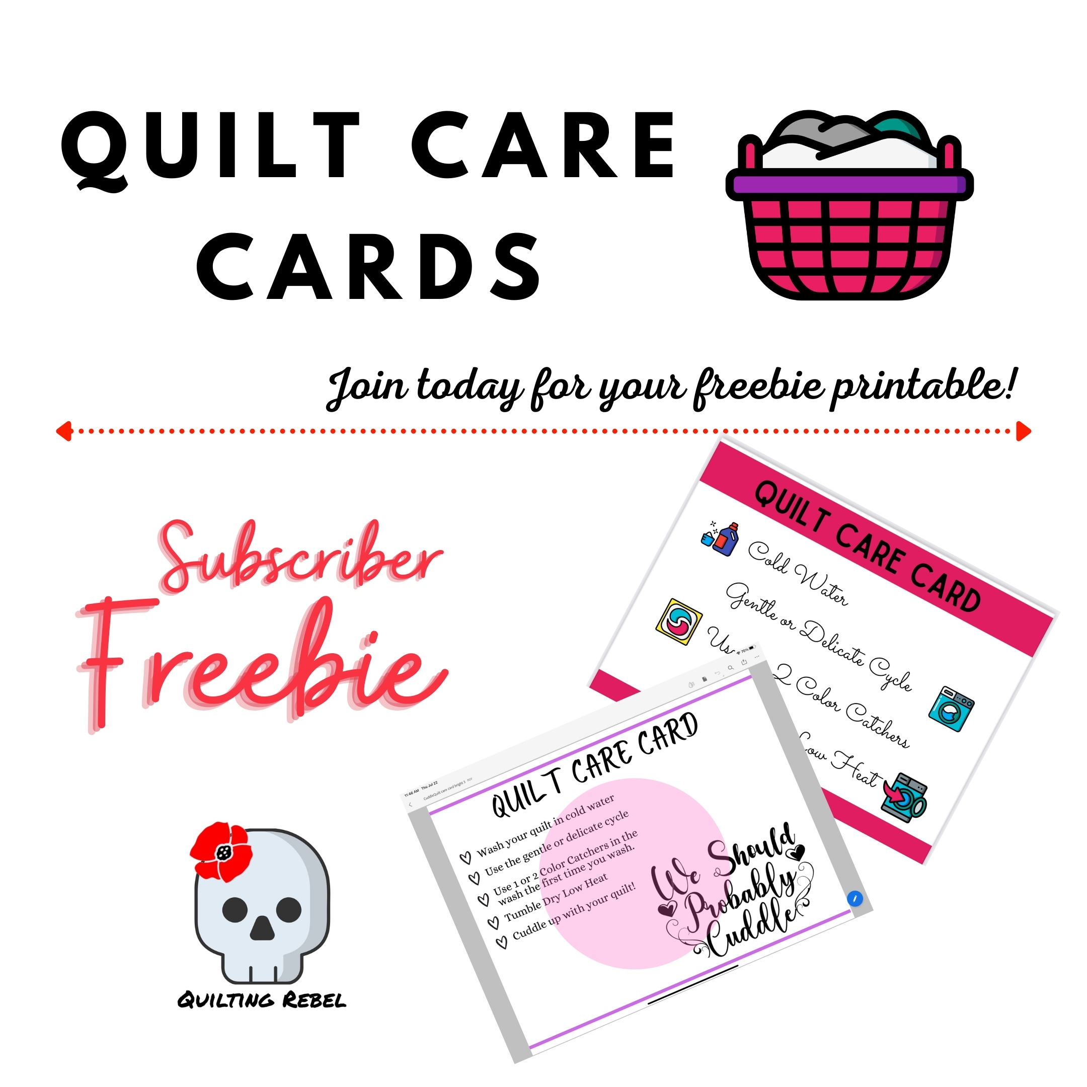 Quilt care cards